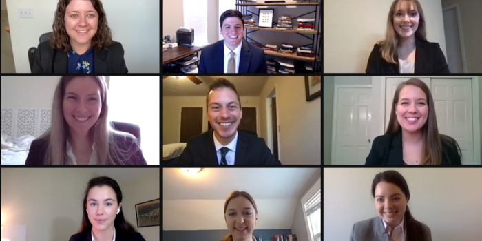 The nine winners of the 2021 Transactional Law Competition at Wake Forest Law on Zoom.