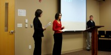 Photo of Kathryn Hatcher ('13), Kristina Wolf ('13) and Jason Weber ('13) presenting 'Know Your Rights' at the Winston-Salem Rescue Mission