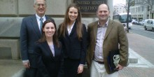 Director of Appellate Advocacy Clinic John Korzen, Hillary Kies ('13), Emma Maddux ('13), and clinic client Tate MacQueen.