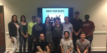 Group photo of law students participating in 'Know Your Rights' program