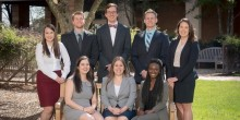 The following is the Elder Law Clinic spring 2016 class: Brandy Davis, Alec Roberson, Marcus Fields, Tim Lewis, Emily Morris, Jenna Coogle, Rebecca Daddino and Sharon Ukodie.