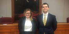 Photo of Wake Forest School of Law students, Brooke Boutwell (JD '18) and Alex Teixeira (JD '18), who are the finalists of the 45th Annual Stanley Moot Court Competition.