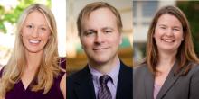 Photo collage of three professors, Abigail Perdue, Hal Lloyd, and Rebecca Morrow